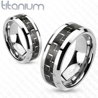 8mm Black Carbon Fiber Inlay Band Ring Solid Titanium Men's Ring