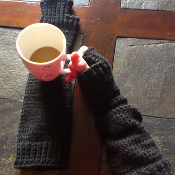 Warm Knit Extra Long Fingerless Gloves - Arm warmers- black