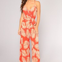 Vacation Home Tropical Print Jumpsuit - Red