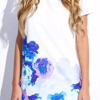White Short Sleeve Printed Chiffon Dress