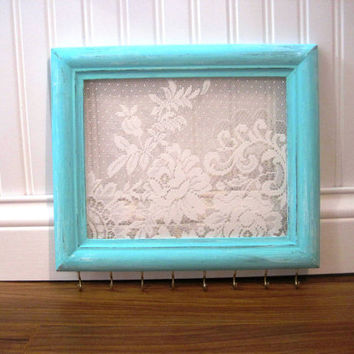 Mint Jewelry Hanger Accessory Organizer / White Lace by TradeFare