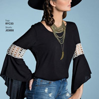 Elan Black Gypsy Bell Sleeve Blouse