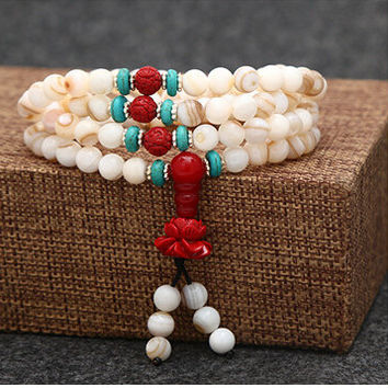 Natural Tibetan Buddhist 6mm  Conch shell bead 108 beads Mala Necklace Hand Knotted for Meditation