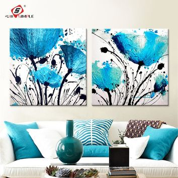 Oil Painting Wall Art Canvas Prints Abstract Blue Flowers Modern Modular Wall Pictures For Living Room Home Decoration 2pcs