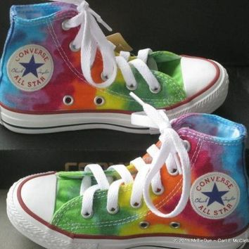 CREYON youth sz 10 5 rainbow hand dyed converse hi top sneakers