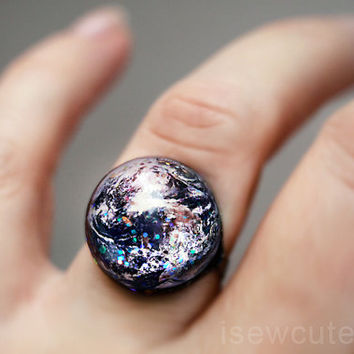 Space Jewelry, Earth ring, Home Sweet Home, Out of this World Fashion Statement Glitter Hubble Image, Modern Resin Galaxy Jewelry