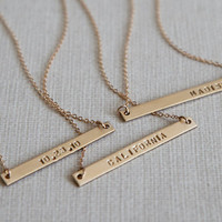 Skinny Bar Necklace/Nameplate Necklace/Personalized Jewelry/Dainty/Sterling Silver/Wedding Gift/ Bridesmaid Gift/Gift for Wife/ N149G