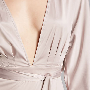Satin High-Low Wrap Dress