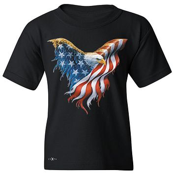 "Zexpa Apparelâ""¢ American Flag Bald Eagle Youth T-shirt USA Flag 4th of July Tee"