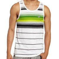 Southpole Men's Tank Top With Engineered Pin Stripes, White, XX-Large