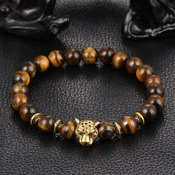 Outstanding Mens Jewelry Leopard Head Tiger Eye Buddha Natural Stones Bracelet