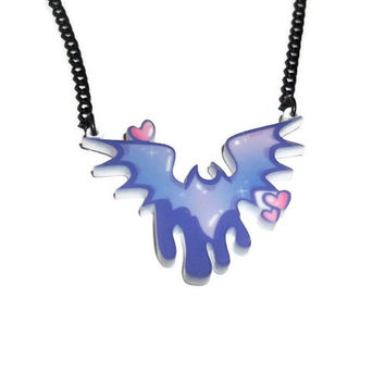 Creepy Cute Bat Necklace, Pastel Goth Fairy Kei, Pastel Bat, Dripping Perspex Laser Cut
