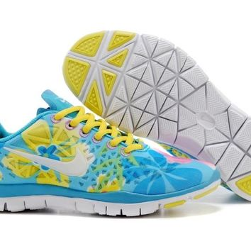 Women's Nike Free TR FIT 3 Print Limited Training Shoes Blue/Flower Yellow