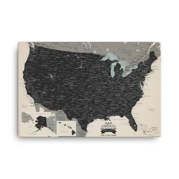 US Map Pinboard With 1,000 Pins - Great For Travelers!