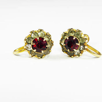 Gold Filled Rhinestone Earrings, Red & Smoke Rhinestones, Signed White Co, 1/20th 12K GF, Vintage 1940's Petite Round Screw Back Earrings