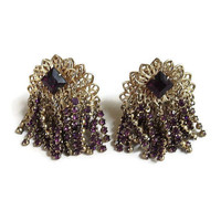 Purple Rhinestone & Chains Dangle Earrings Vintage Cha Cha Waterfall style