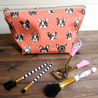 FRENCHIE French Bulldog Cosmetic Bag, Zipper Pouch