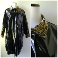 Black Leopard Print Rain Coat Vintage 80s Batwing Vinyl Ladies Jacket Size L Large Retro Rain Slicker 1980s Womens Waterproof Trench Coat