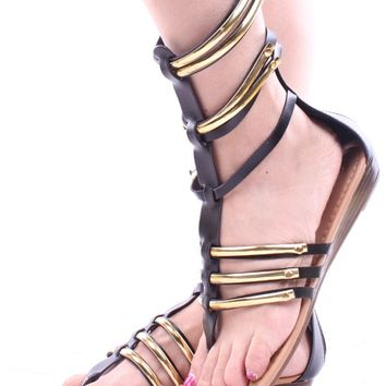 BLACK STRAPPY FAUX LEATHER GLADIATOR SANDALS