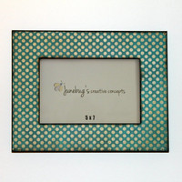 5x7 Photo Frame Teal White Polka Dots