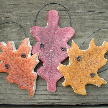 Fall Leaves Set of three (3) Autumn Party Favors Kitchen Decor Hanging Salt Dough Ornaments
