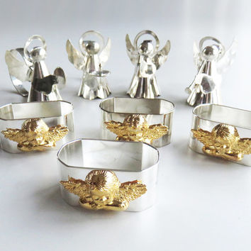 Christmas holiday festive napkin rings - angel silver and gold-tone metal napkin rings