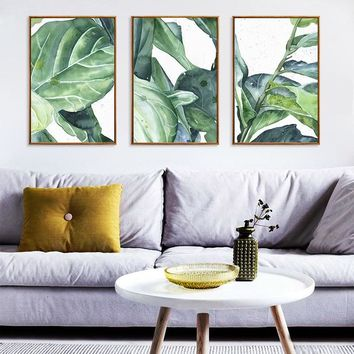 Leaf Plant Poster Nordic Canvas Painting Home Decor Wall Art Abstract Watercolor Flower Office Living Room Picture Backdrop DIY