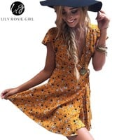 Lily Rosie Girl Women 2017 Deep V-neck Sexy Boho Style Summer Party Mini Dress Floral Casual Natural Beach Dresses Vestidos