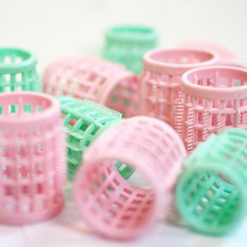 Set of 12 Vintage Mini Green and Pinnk Hair Rollers, Vintage Hair Accessories.