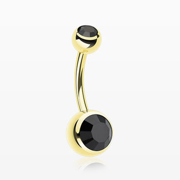 Gold PVD Double Gem Ball Steel Belly Button Ring