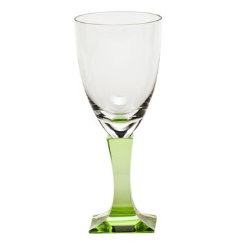 Lancelot Colored Crystal White Wine Glass, Ocean Green