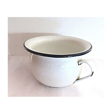 Antique enamel. White planter. Bathroom organization. Enamel pot. Enamelware pot. White enamelware. Metal planter. White enamel chamber pot.
