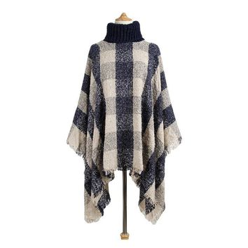 Autumn Winter Women Sweaters And Pullovers Plaid Turtleneck Cloak With Tassel Thick Knitted Coat