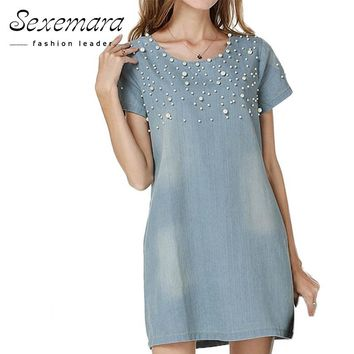 Women Summer Dress Jeans Sundress Women's Casual Denim Dress Vestido 2018 Plus Size 5XL Spring Style Beaded Party Tunic Dresses