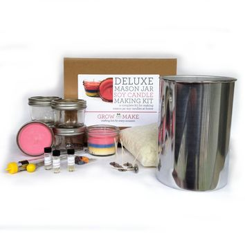 Deluxe DIY Large Mason Jar Soy Candle Making Kit - Make your own soy candles at home!