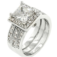 Theodra Princess Cut Engagement and Wedding Ring Set | 4.5ct | Cubic Zirconia