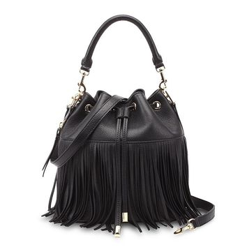 Womens Tassel bag Genuine Leather Bucket Fringe Bag Hippie Purse shoulder messenger bag female Crossbody bag women handbags