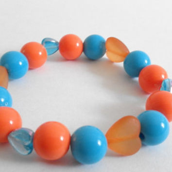 Orange and Blue Acrylic Heart and Round Gumball Beaded Bracelet