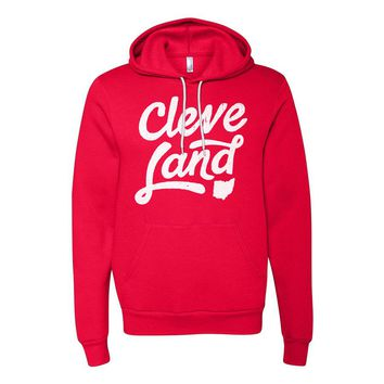 Cleve-Land Ohio - Red and White Script - Hooded Sweatshirt
