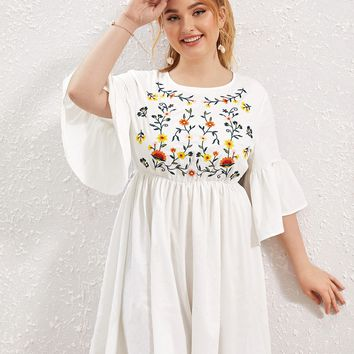 Plus Bell Sleeve Flower Embroidered Dress