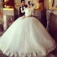 Modest Long Sleeves Muslim Wedding Dress Bridal Dress Custom Size 2 4 6 8 10 12