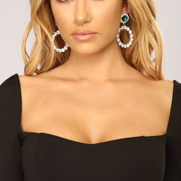 In The Loop Rhinestone Earrings - Silver