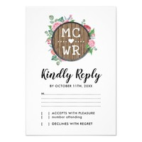 Rustic Country Floral Chic Wedding RSVP Card