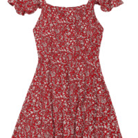 Square Collar Criss Cross Floral Print Dress