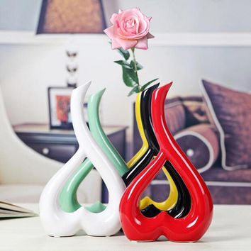 Creative Flower Ceramic Vase or 1 Vase Plus 1 Real Touch Rose