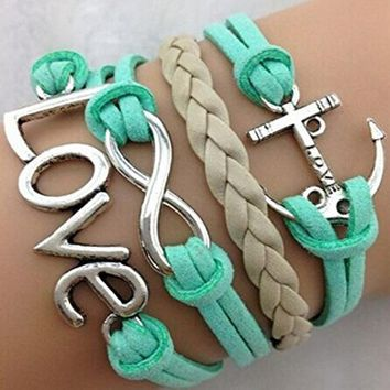 Handmade Adjustable Love Anchor Charms Multilayer Bracelet Wristband