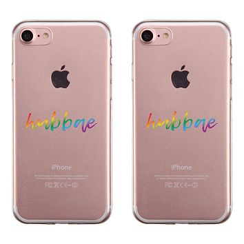 LGBT Hubbae Hubbae Rainbow Clear Matching Phone Cases