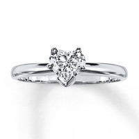 Diamond Solitaire Ring 1/2 carat Heart-shaped 14K White Gold