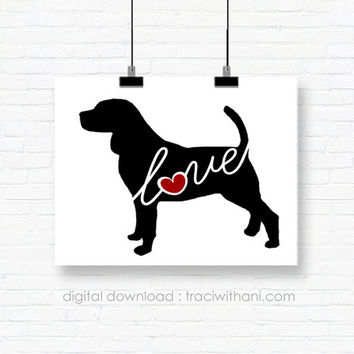 INSTANT DOWNLOAD: Beagle Love - an original digital silhouette for wall-art, clip art, t-shirt transfers, scrapbooking