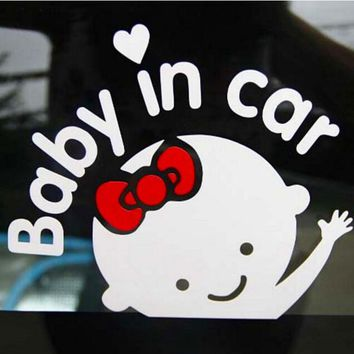 2017 NEW lovely Car Sticker boy girl with Bow Baby in Car for car Styling Baby on Board car Decoration